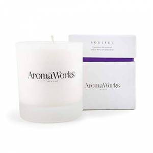 AromaWorks Soulful Soy Wax Candle - Frankincense, Juniper Berry and Patchouli Aromas - Relax, Clarity & Time Out - Natural, Vegan, Cruelty Free - Medium 7.76oz