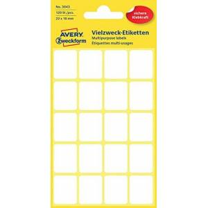 Avery Zweckform 3041 Mini Organization Labels White 120 Stück, 22 x 18 mm