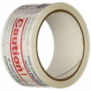 "3M TapeCase 150SP-2 Printed White Carton Sealing Tape with Red and Blue -""Caution"" - 48MM x 55yds (1 Roll)"