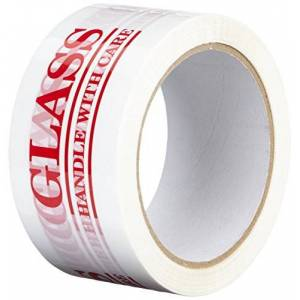 "3M TapeCase 150SP-18 Printed White Carton Sealing Tape with Red Lettering -""Glass Handle w/Care"" - 2"" x 55yds (1 Roll)"