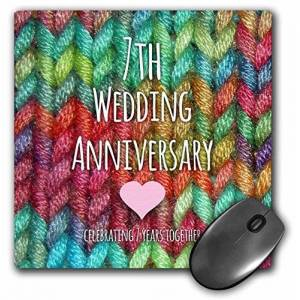 """3dRose mp_154437_1 8"""" x 8"""" 7Th Wedding Anniversary Gift Wool Celebrating 7 Years Together Seventh Anniversaries Rainbow Mouse Pad"""