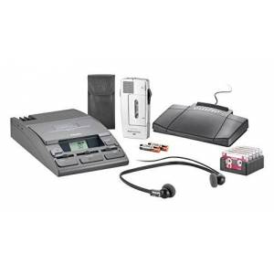 Philips LFH0067 Digital Pocket Memo Dictation and Transcription Set including foot pedal and headset - Silver/Charcoal