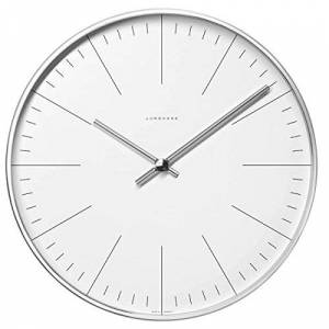 Junghans Max Bill clock.30cm diam. Stainless steel case. Quartz movement. Mineral glass face with marker bars.