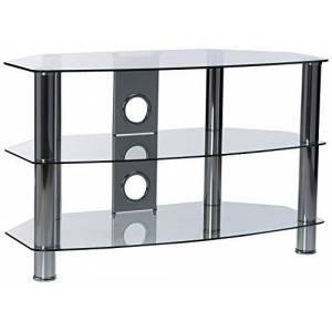 TTAP GROUP Chrome Legs Clear Glass Stand for TV Upto 37-Inch