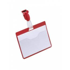 Durable 60 x 90 mm Name Badge with Clip - Red (Pack of 25)