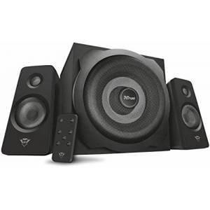 Trust Gaming GXT 638 2.1 Digital Gaming Speaker System with Subwoofer for Computer, Laptop, PlayStation 4 and Xbox One, 120 W, UK Plug, Digital Connection, Black