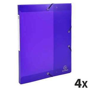 Exacompta Chromaline Translucent Elasticated Filing Box, A4, 25 mm Spine - Purple, Pack 4