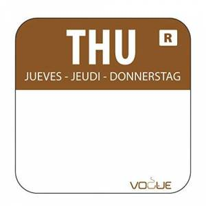"""Vogue """"1"""" Colour Coded Brown Thursday Food Safety Day Labels Food Rotation System Catering Hygiene Home Kitchen Restaurant Storage Thursday - Brown. 1000 labels per roll"""""""