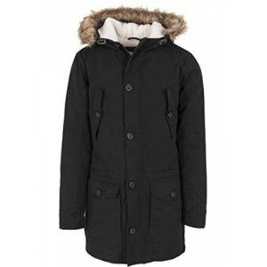 Urban Classics Men's Jacke Sherpa Lined Parka Jacket, Black (Schwarz), (Size: Medium)