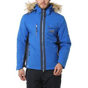 Ultrasport Men's Functional Alpine Outdoor Softshell Jacket Snowfox with Ultraflow 8.000 - High Comfort and Agile Fur Hood Winter Sport Jacket with Inner Storage Pockets , Blue, XL