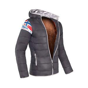 Nebulus T420 - Glossy Jacket with faux fur LHASA, Honeycomb jacket, Hood, exclusive - Men's, dark grey, S