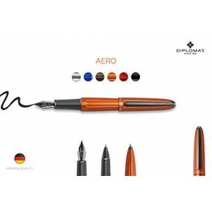 Diplomat D40302025 Aero Fountain Pen with Steel Medium Nib - Orange