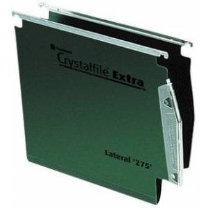 Rexel 71763 Crystalfile Extra 275 Lateral Suspension File, 500 Sheet Capacity, 50 mm Squared Base Polypropylene, Pack of 25, Green