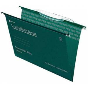 Rexel 3000032 Crystalfile Classic Foolscap Suspension File, with Crystal Links 15 mm V-Base Manilla, Pack of 50, Green
