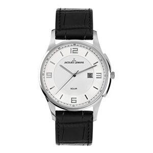 Jacques Lemans London Solar 1-1624A Men's Black Leather Strap Watch