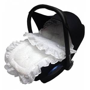 For-your-Little-One Broderie Anglaise Car Seat Footmuff/Cosy Toes Compatible with Maxi COSI Cabrio/Pebble White
