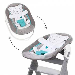 Hauck Alpha Bouncer 2-in-1 Newborn Set, Cosy Baby Rocker from Birth, Compatible with Hauck Wooden Grow-Along High Chair Alpha+, Beta+, Seat Minimizer, Hearts Grey