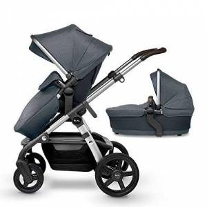 Silver Cross Wave Fully Adjustable 2-in-1 Tandem Baby Pram and Pushchair - Slate