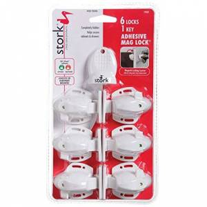 Stork Child Care Products Adhesive Magnetic Lock with 6 Locks and 1 Key