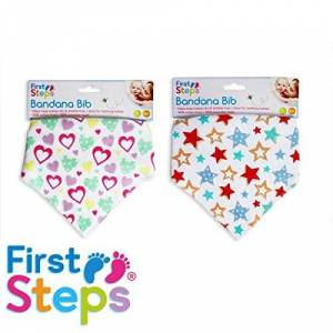 First Steps Pack of 2 Cute Blue Bandana Dribble Bibs with Stars Perfect for Teething Babies