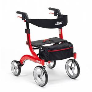 Drive DeVilbiss Healthcare Drive Nitro Mini Four Wheeled Premium Rollator with Backrest, Seat and bag, Red