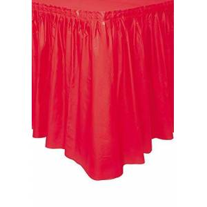 Unique Party 50053 - Plastic Red Table Skirt, 14ft