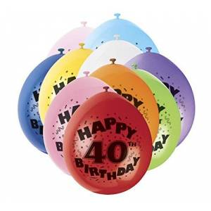 """Unique Party 80313 - 9"""" Latex Assorted Happy 40th Birthday Balloons, Pack of 10"""
