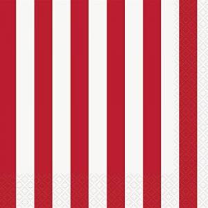 """Unique Party 38002 - 6.5"""" Red Striped Paper Napkins, Pack of 16"""