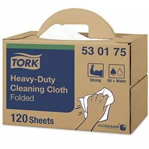 Tork 530175 Heavy-Duty Cleaning Cloth / 1 Ply Multipurpose Disposable Cotton Towel for W7 Handy Box System / White / 35.5cm x 10.8cm / 120 Sheets