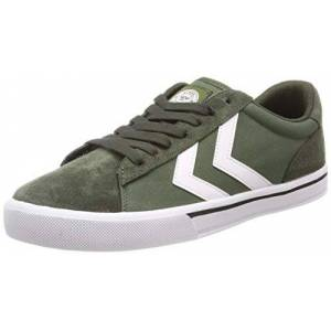 hummel Unisex Adults' Nile Canvas Low-Top Sneakers, Green (Olive Night 6453), 4 UK