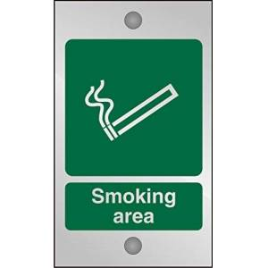 Seco Smoking Area Sign, 120mm x 200mm - 5mm Clear Acrylic with Stand Off Fixings