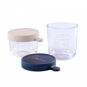 Baba - Set of Baby Food Storage Containers - Glass Conservation Jar - Graduation Measuring Scale - Heat and Thermal Shock Resistant - 150 ml + 250 ml - Made in France - Pink/Dark Blue