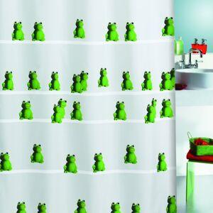 Spirella Quack Green Frog Pattern Textile Polyester Shower Curtain, 180 x 200 cm, White/Green/ Black