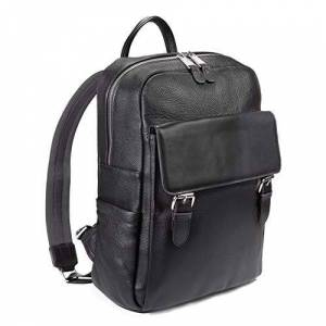 """Falcon Leather 13"""" Backpack Laptop/Tablet Twin Buckle Zipped for men or women in Black"""