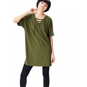 find. Women's Blouse Casual Crew Neck Ribbed, Green (Khaki), 12 (Manufacturer size: Medium)