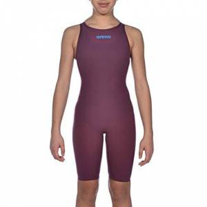 ARENA Girls' Powerskin R-evo One Open Back Junior Racing Swimsuit Piece, Red Wine/Turquoise, 26