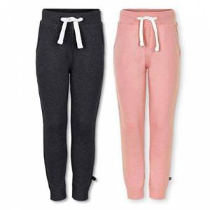 Minymo 3937 Childrens Girls Jogging Bottoms Age 10-11 Years Age 146 Pink and Dark Grey Pack of 2