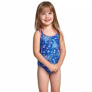 Zoggs Girls' Undersea Actionback Swimsuit, Blue/Multi, 3 years