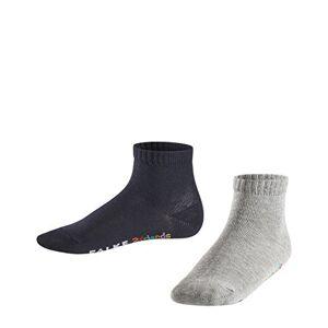 FALKE Kids 2Friends 2-Pack Trainer Socks - 80% Cotton, Grey (Light Grey/Navy 40), UK 12-2.5 (Manufacturer size: 31-34), Pack of 2
