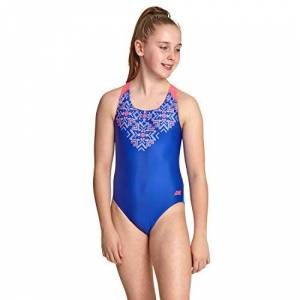 Zoggs Girls' Enchanted Flyback Swimsuit, Multi/Blue, 30 UK, 140cm, 10 years