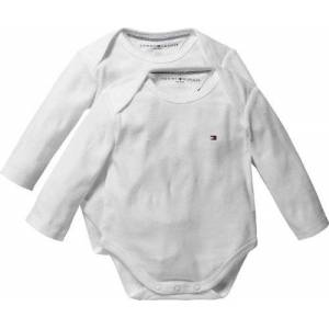 Tommy Hilfiger Baby Body Long Sleeve Starter Set (Classic White, 9-12 Months, Pack of 2)