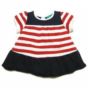 Little Green Radicals organic Fairtrade cotton Nautical Frill Dress  (Red & White Stripe, 3-4 Years)