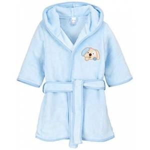 BlueberryShop Embroidered Luxurious Hooded Bathrobe/Dressing Gown, 1-2 Years, Blue