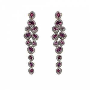Brumani Women's 18ct Rose Gold Red Garnet and Brown Diamonds Corcovado Earrings