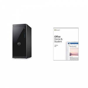 Dell Inspiron 3000 Desktop with a Wired Mouse and UK Keyboard, Windows 10, Black/Silver Trim + Microsoft Office Home & Student 2019