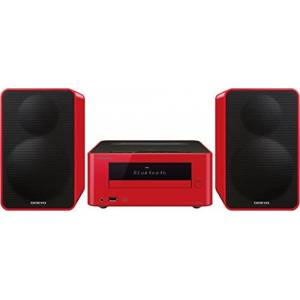 Pioneer Onkyo CS-265(R) CD HiFi Mini System (CD Player, MP3, Radio, 2 x 20 Watt output, two-way speaker, Bluetooth, NFC, music streaming, USB/Audio in, iPhone compatible), Red