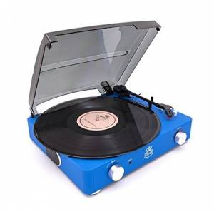 GPO Stylo II Retro 3-Speed Portable, Stand-Alone Turntable Record Player with Built-in Stereo Speakers - Cobalt Blue
