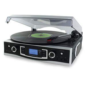 soundmaster PL525 Retro Black FM Radio Record Player with USB MP3 Encoding