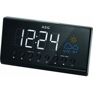 AEG MRC 4141 P Clock Radio with Projection LED Display 3 Level Dimmer Current Weather Display/Forecast Through Graphical Display
