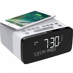 Pure Siesta Charge Bluetooth DAB+/DAB/FM Digital Radio Alarm Clock - Bedside DAB Radio with Qi Wireless Charging Pad for Smartphones and CrystalVue LCD Display with Auto-Brightness - Polar